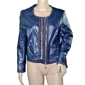 Insight Blue Chained Vegan Leather Moto Jacket 10